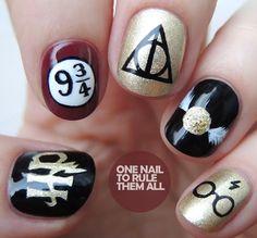 Harry Potter Nail Designs Idea one nail to rule them all harry potter nail art harry Harry Potter Nail Designs. Here is Harry Potter Nail Designs Idea for you. Harry Potter Nail Art, Harry Potter Nails Designs, Harry Potter Makeup, Harry Potter Fashion, Harry Potter Earrings, Acrylic Nail Designs, Nail Art Designs, Acrylic Nails, Gel Nails