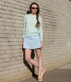 Topshop Knitted Organza Front Jumper + Topshop Patent Leather Flippy Skirt By Boutique + Topshop Slides