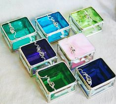 Bridesmaid Gift Idea Stained Glass Box Set of Seven by GaleazGlass, $145.00