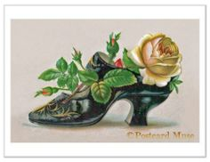 Victorian Shoe with A Rose Vintage Trade Card Image Greeting Card or Print FF009 | eBay