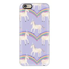 iPhone 6 Plus/6/5/5s/5c Case - Unicorns & Rainbows on Pastel Purple ($40) ❤ liked on Polyvore featuring accessories, tech accessories, phone cases, case, phones, electronics, iphone case, slim iphone case, iphone cases and purple iphone case