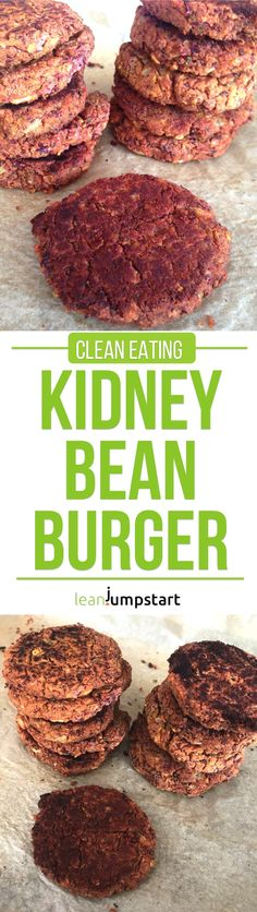 Kidney bean burger: easy recipe for spicy, oven-baked vegan burgers via @leanjumpstart