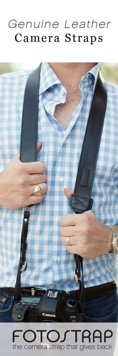 Fotostrap carries a line of full leather camera straps that are made in the USA.  Custom monogramming is available on the shoulder pad, even your business logo!