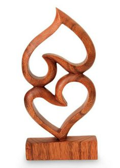 Wood sculpture, 'Upside Down Love' by NOVICA