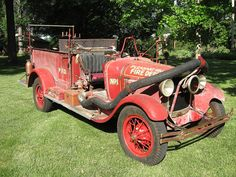 Ford Model A Fire Truck, still wearing the same coat of paint it wore when it left firefighting service. Ambulance, Old Pickup Trucks, Fire Equipment, Rescue Vehicles, Fire Apparatus, Emergency Vehicles, Fire Dept, Fire Engine, Classic Trucks