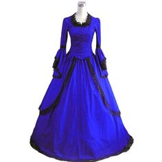 Classic Victorian Long Sleeve Vintage Blue Lolita Lace Dress ($150) ❤ liked on Polyvore featuring dresses, gowns, victorian dress, victorian lace dress, longsleeve dress, vintage dresses and blue victorian dress