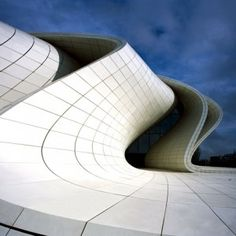 nice manipulation of materials- Heydar Aliyev Centre by Zaha Hadid  photographed by Hélène Binet