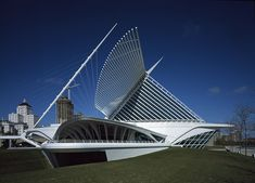 The Milwaukee Art Museum designed by Santiago Calatrava. Shaped like a bird - the wings actually move thought out the day, as if the bird/building might take flight!