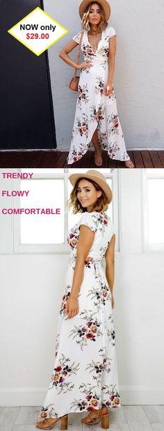 """af9bf7c2cf5da """"Long Maxi Floral Dress"""". Flowy Beach ..."""