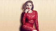 Scarlett Johansson in Red Lace Dress Wallpaper