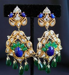 Spectacular-Joseph-Mazer-Dangle-Earrings-Blue-Lapis-Green-Cabochons