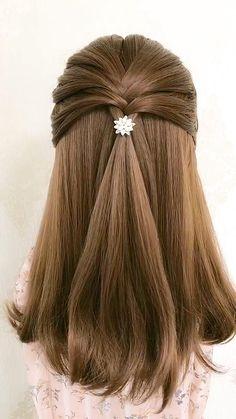 Hairdo For Long Hair, Bun Hairstyles For Long Hair, Girl Hairstyles, Simple Hairstyles For Wedding, Hairstyles For Girls Easy, Easy Hairstyle Video, Everyday Hairstyles, Front Hair Styles, Medium Hair Styles