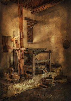 """The Mission San Jose was considered the """"Queen of the Missions"""".  Founded in 1720, it is the largest of the San Antonio Missions.  This photo of the interior of the mission's mill had a texture applied to enhance its Old World look.  The Mission is part of the San Antonio Missions National Historical Park."""