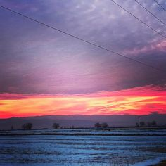 Red sky at night shepherds delight. Red sky in the morning shepherds house burning down! #sunrise #romania #sfantugheorghe #ice #snow #winter #sunset #sky #clouds #fields