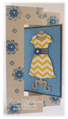 Dress Up Framelits swingfold card.  Parker's Patterns DSP - 2013 Spring Catalog;  Madison Avenue stamp set (Flowers) - 2013 SAb