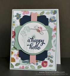 Pretty florals for a hello/thinking of you card with Stampin' Up! Serene Silhouettes and Tin of Cards stamp sets.
