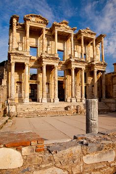 """The ancient Library of Celsus in Ephesus, Anatolia, Turkey Troy, the setting of """"Troilus and Cressida"""" is a legendary city, infamous for the Trojan War. It is located in what is now Turkey."""