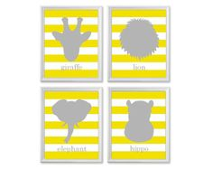 Boys Nursery Art, ANY COLOR, Set of Four 8x10 Prints, Grey and Yellow Nursery Art, Zoo Safari Animals, Giraffe Elephant Hippo Lion