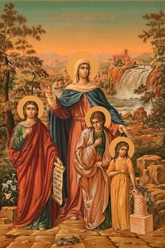 Saint Faith, Hope, Love and their mother Sofia ( Wisdom ) as their express in russian tradition Catholic Art, Catholic Saints, Catholic Pictures, Best Icons, Orthodox Christianity, Faith In Love, Orthodox Icons, All Saints, Art Gallery