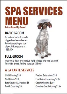 Dog grooming price menu template from http://www.thegroomerssecret.com/dog-grooming-price-list-templates