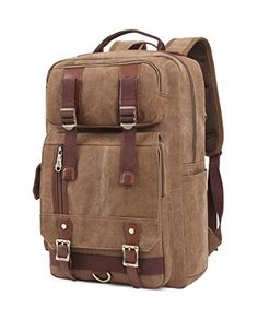 BLUBOON Rucksack Vintage Backpacks Canvas School Unisex Bags with Large  Capacity for Outdoor Hiking College (Dark Khaki) 2bd20a9bec