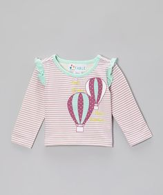 purple hot air balloon tee  Lilac Stripe Balloon Ruffle Tee - Infant by Sweet Fable on #zulily today!