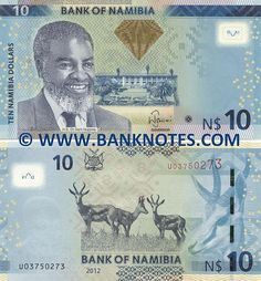 Namibia 10 Dollars (2012) Front: Portrait of Dr. Sam Nujoma (1929-) - First President of Namibia (1990-2005). Parliament building in Windhoek. BON see-through logo. Green-to-gold OVI diamond with latent image '10'. Back: Springbok antelopes (Antidorcas marsupialis). Namibian coat of arms. Watermark: Dr. Sam Nujoma. Electrotype '10'. Main colour: Blue. Signature: Ipumbu Shiimi (Governor). Artist: Unknown.