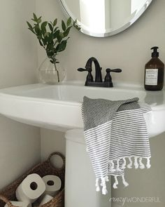 Crazy Wonderful: powder room decor, simple bathroom design ideas, pedestal sink, turkish towels