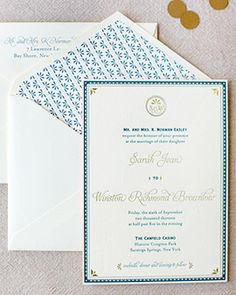 Oh So Beautiful Paper: Sarah + Winston's Navy, Gold, and Coral Letterpress Wedding Invitations