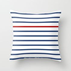 Navy blue and red stripped throw pillow navy blue by LatteHome, $32.00