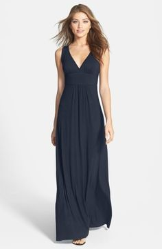 """Soft gathers atop the wide straps and on either side of the smooth waistband shape the plunging V-neck and ankle-grazing skirt of a lithe maxi dress cut from soft, supple jersey.55"""" petite length (size Medium P).Slips on over head.95% rayon, 5% spandex.Machine wash cold, dry flat.By Loveappella; imported.Available online only.Watch the video:Dress Fit FundamentalsLearn More:The Best Dress for Your Body Type"""