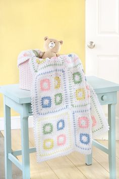 Sweet gifts for a new arrival, these baby blankets have the timeless appeal of classic styles plus a fresh feel with updated colors and special details. Mom will love the bright pastels. and Baby will Crochet Granny Square Afghan, Baby Afghan Crochet, Manta Crochet, Baby Afghans, Crochet Squares, Knit Crochet, Crochet Crafts, Crochet Projects, Knitted Baby Blankets
