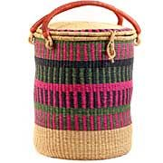 African Basket - Ghana Bolga - Lidded Laundry Hamper - 18 Inches Across - #59349