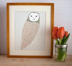 Barn Owl Giclee Print  Free US Shipping by Gingiber on Etsy, $23.00
