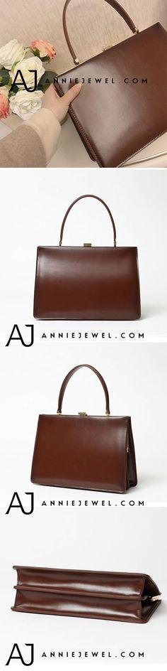 GENUINE LEATHER CLASP HANDBAG MINIMAL SHOULDER BAG CROSSBODY BAG PURSE CLUTCH FOR OL WOMEN
