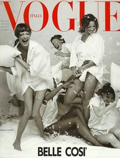 Vogue Italia, May 1993 - photo by Steven Meisel; with Christy Turlington, Linda Evangelista, Naomi Campbell, Amber Valletta, and Shalom Harlow.