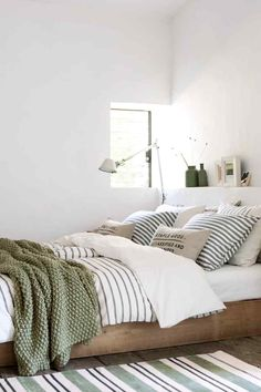 Light Green And White Bedroom. I've Come Over To The Light Side 10 Bedroom With White . Attractive Painting Ideas For Bedrooms Decorating Ideas . Home Design Ideas Bedroom Green, Dream Bedroom, Home Bedroom, Bedroom Ideas, Earthy Bedroom, Bedroom Inspo, Casual Bedroom, Green Bedding, Budget Bedroom