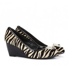 Zebra Wedges with a little buckle! This is an easier heel to wear than some