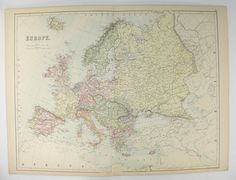 Vintage Map of Europe 1884 A C Black Europe Map, Antique Wall Map, Unique Wedding Gift for Couple, Gift for Traveler, Unique Europe Gift available from OldMapsandPrints.Etsy.com #Europe #1884BlackMapofEurope #UniqueEuropeTravelGift #ChtistmasGiftUnder100