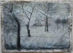 "Saatchi Art Artist Thomas Lamb; Drawing, ""House in the Snow at Dusk study"" #art"
