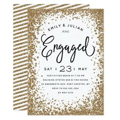 Sparkling Engagement Party Invitation Celebrate the newly engaged couple with this stylish engagement party invitation that features a sparkling gold glitter frame and modern hand lettering. Engagement Party Invitations, Gold Invitations, Custom Invitations, Invites, Engagement Party Decorations, Diy Party Decorations, Glitter Frame, Gold Glitter, Glitter Gifts