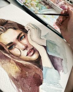Watercolor painting by Humid Peach. Humid Peach is the name of the artist whose real name is Ksenia Kondyleva. Continue Reading and for more watercolor art → View Website Watercolor Drawing, Watercolor Portraits, Painting & Drawing, Watercolor Paintings, Art Sketches, Art Drawings, Arte Sketchbook, Gcse Art, Oeuvre D'art