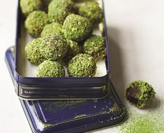 Try this matcha chocolate truffles recipe: decadent dark chocolate, earthy matcha powder and heart-healthy pistachios provide a feel-good antioxidant boost.