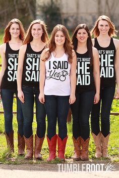 That's What She Said and I Said Yes bachelorette party tank tops by Bachette