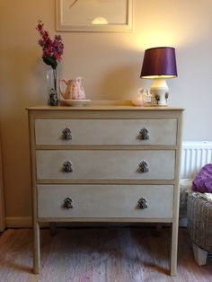 A recent project, using Annie Sloan 'Old White' and 'Old Ochre' painted Vintage Chest of Drawers.