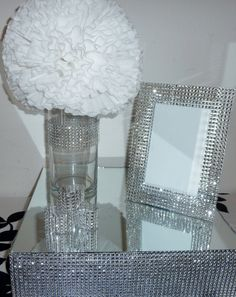 5x7 silver bling rhinestone wedding frame table number glamorous elegant centerpiece via Etsy