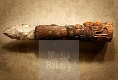 Flint Aztec sacrificial knife with carved wooden handle at the National Museum of Anthropology in Mexico City