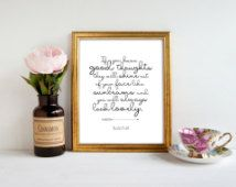 Roald Dahl quote PRINTABLE, If you have good thoughts you will always look lovely inspirational Matilda print, nursery wall art child's room