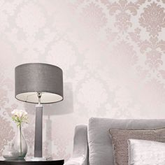 This Rose Gold Quartz Damask Wallpaper has an ornate metallic damask pattern in rose gold on a textured fabric glitter effect background. Pink And Silver Wallpaper, Pink And Gold Wallpaper, Accent Wallpaper, Rose Gold Wallpaper, Trendy Wallpaper, Bedroom Wallpaper, Wallpaper Ideas, Demask Wallpaper, Pastel Wallpaper