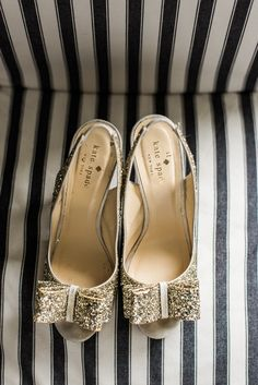 Guests were encouraged to dress up in Kate Spade looks, including glittery heels and playful dresses. | Sparkly Gold Kate Spade Heels | Kate Spade Bridal Shower | B. Jones Photography